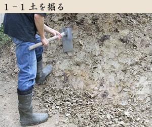 土を掘り出す