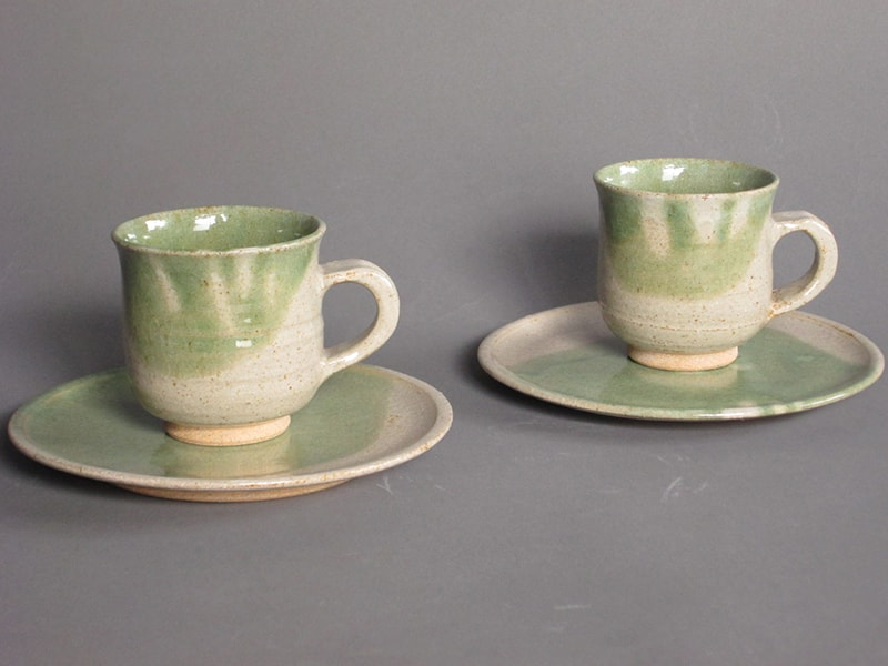 緑釉マグカップ・緑釉銘々皿